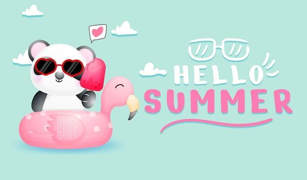 Panda fofinho com banner de saudação de verão