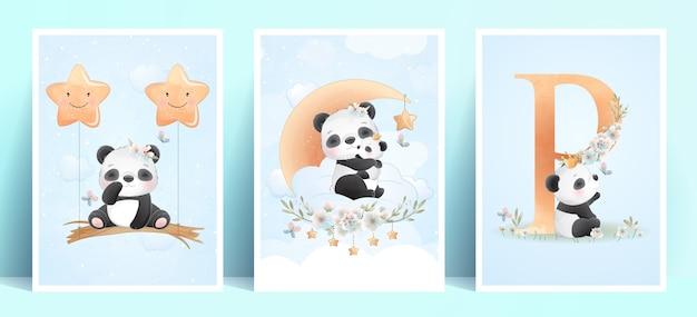 Panda fofinho com ilustração floral Vetor Premium