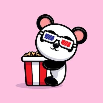 Panda fofinho com mascote de desenho animado de pipoca