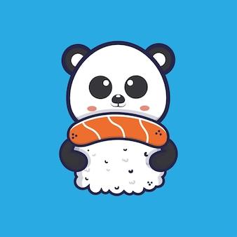 Panda fofo abraçando a ilustração dos desenhos animados de sushi