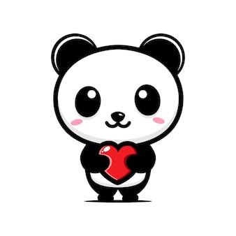 Panda fofo abraçando um coração de amor