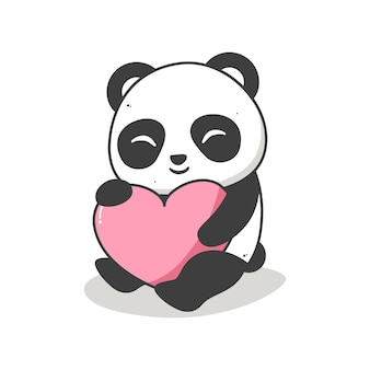 Panda fofo abraçando um coração de branco
