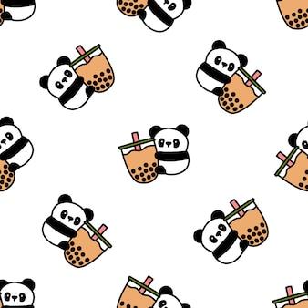 Panda fofo ama padrão sem emenda de bolha chá dos desenhos animados