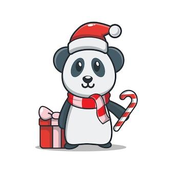 Panda fofo com caixa de presente segurando doces de natal