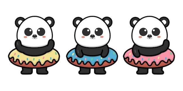 Panda fofo com ilustração de desenho animado de donut