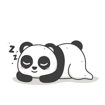 Panda fofo dormindo e sorrindo