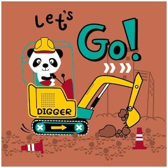 Panda fofo e escavador engraçado animal cartoon