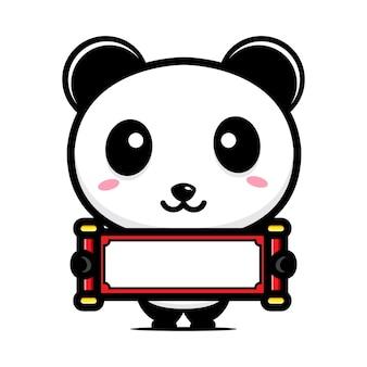 Panda fofo segurando papel em branco