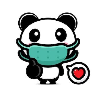 Panda fofo usando uma máscara e em uma boa posição