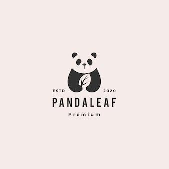 Panda folha logotipo retro vintage hipster