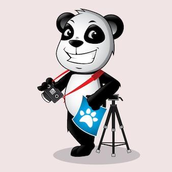 Panda fotógrafo mascote logo
