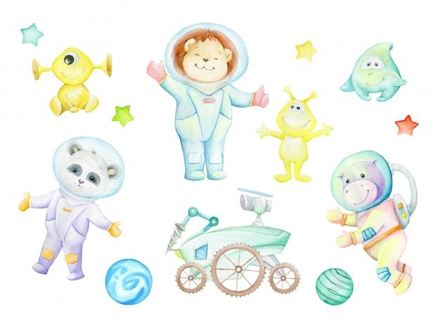 Panda, hipopótamo, filhote de leão, alienígenas, moonwalker, planetas, estrelas. conjunto em aquarela, desenhos, astronautas.