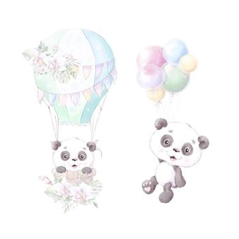 Panda, ilustração em aquarela isolada