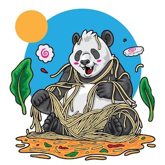 Panda jogando ilustração de macarrão