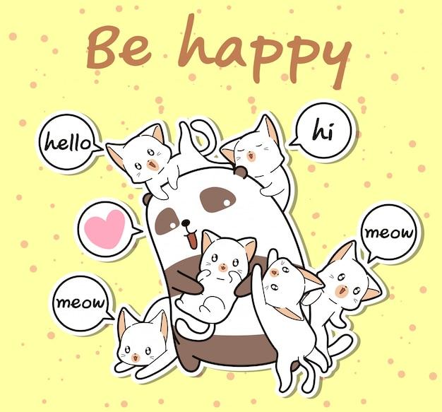 Panda kawaii e amigos em estilo cartoon