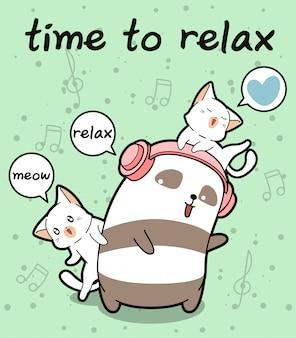 Panda kawaii e gatos estão relaxando