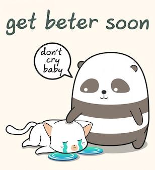 Panda kawaii está cuidando de um gato