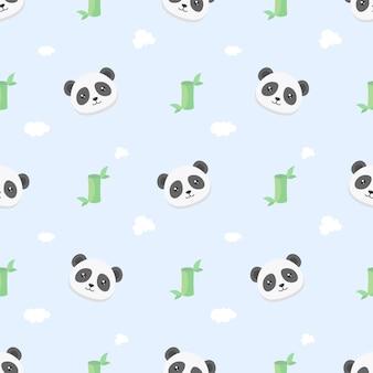 Panda kawaii fofo e padrão sem emenda de bambu