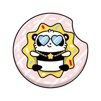 Panda na ilustração de donut de círculo inflável