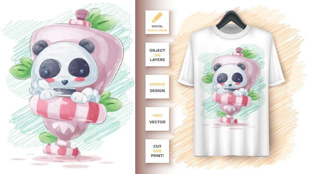 Panda no pôster do banheiro e merchandising
