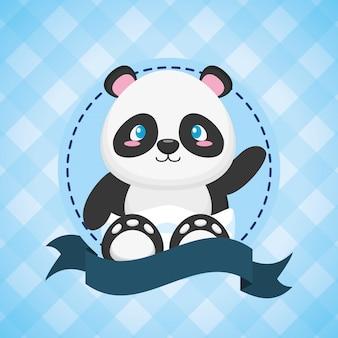 Panda para cartão de chá de bebê