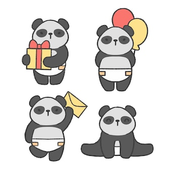 Panda pequena mão desenhada cartoon coleção