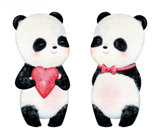 Panda pequeno bonito com bochechas rosas. ilustração em aquarela de pintados à mão
