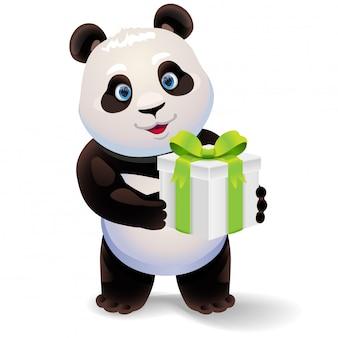 Panda segurando a caixa de presente.