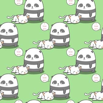 Panda sem costura adora gato padrão.