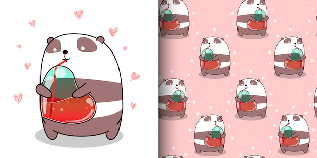 Panda sem costura padrão kawaii é beber água de coração