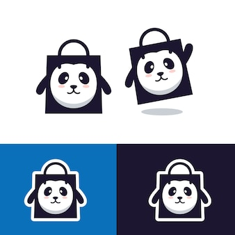 Panda shopping bag shop store logotipo vetor mascote personagem