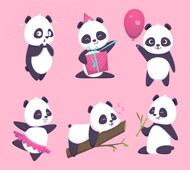 Panda. urso fofo personagem animal engraçada na coleção dos desenhos animados de floresta