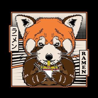 Panda vermelha fofa comendo macarrão ramen japonês
