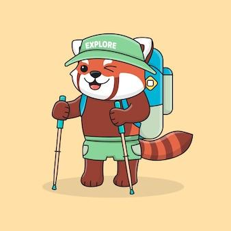 Panda vermelho bonito alpinista com chapéu, mochila e vara de trekking