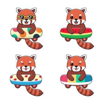 Panda vermelho bonito com bolinhas de anel de natação, melancia, amor e arco-íris