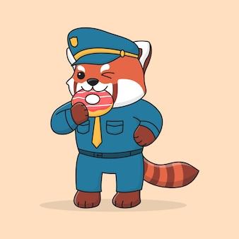 Panda vermelho bonito polícia comendo rosquinha