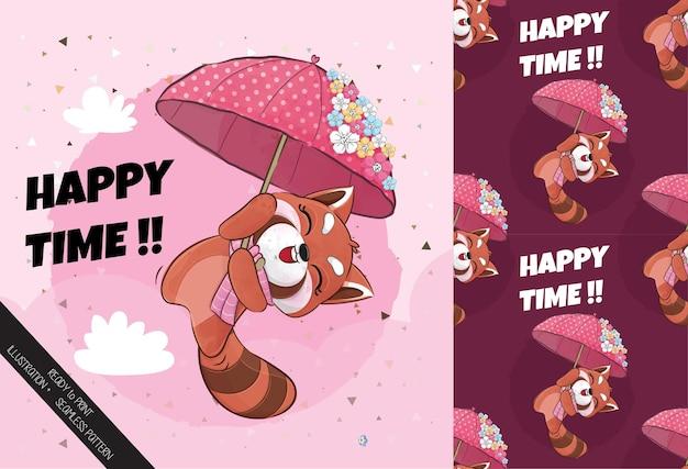Panda vermelho pequeno bonito voando feliz com ilustração de guarda-chuva conjunto de ilustração e padrão
