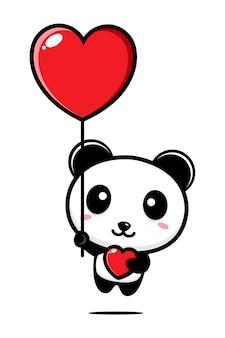 Panda voador fofo segurando um coração de amor