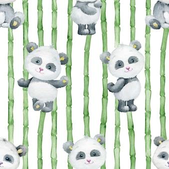 Pandas bonitos, no fundo de ramos de bambu. aquarela sem costura padrão em um fundo isolado.