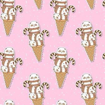 Pandas de kawaii sem costura no padrão de cone de sorvete