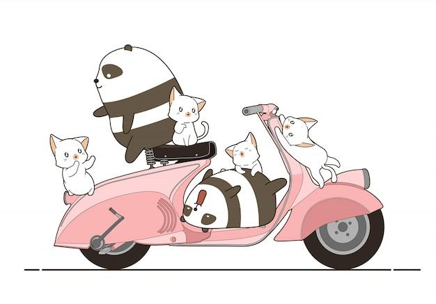 Pandas e gatos com moto em estilo cartoon.