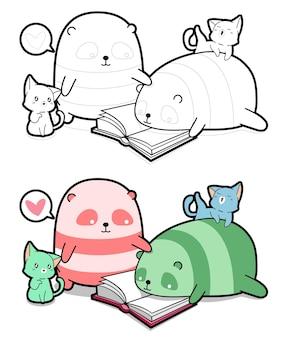 Pandas e gatos estão lendo uma página para colorir de desenho animado para crianças