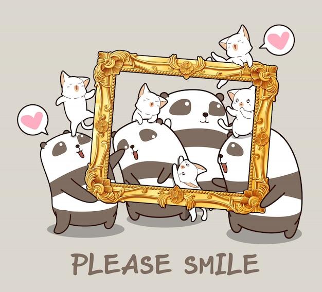 Pandas e gatos kawaii com um quadro de luxo