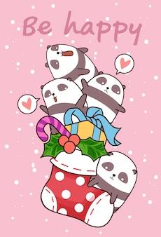 Pandas feliz kawaii está em uma meia