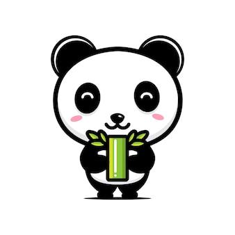 Pandas fofos adoram plantas de bambu