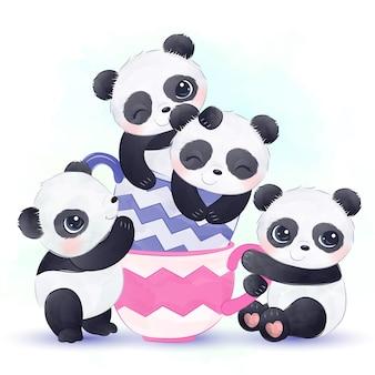 Pandas fofos brincando juntos e felizes