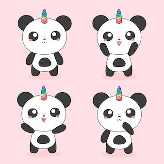 Pandas mágicas unicórnio