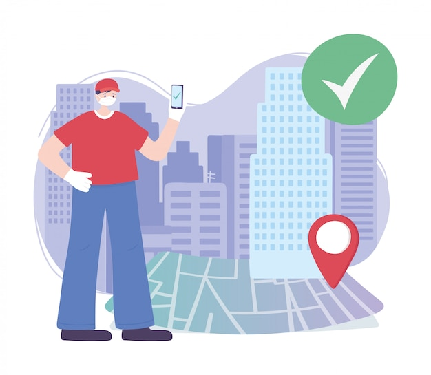 Pandemia de coronavírus, serviço de entrega, entregador com celular no ponteiro de localização de mapa, use máscara médica protetora