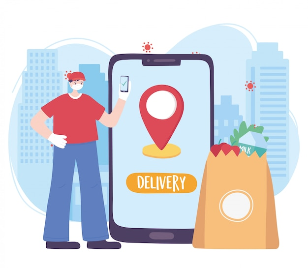 Pandemia de coronavírus, serviço de entrega, entregador com mercado on-line móvel, use máscara médica protetora