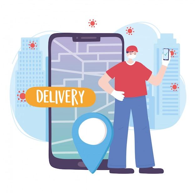 Pandemia de coronavírus, serviço de entrega, entregador com pino de mapa de navegação gps móvel, use máscara médica protetora